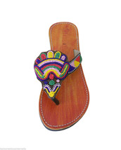 Women Slippers Indian Handmade Leather Designer Camel Flats Slip On US 8  - $29.99