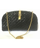 Vintage LANCEL, black bamboo woven clutch bag in round oval shape with c... - $132.00