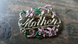 Antique Gold Mother Painted Brooch 5cm - $23.76