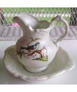 Pottery Basin & Pitcher with Hand Painted  Bluebird - $10.00