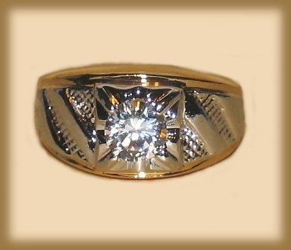 Ring men chevron gold cz lt