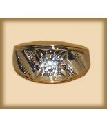 Mens Womens Solitaire Ring YGP Chevron Design Size 9 - $19.99