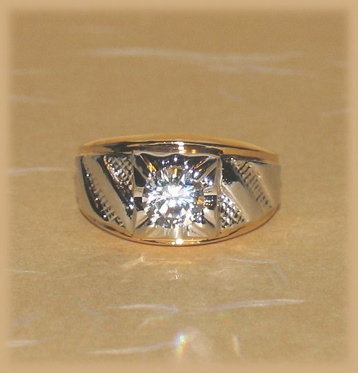 Mens Womens Solitaire Ring YGP Chevron Design Size 9