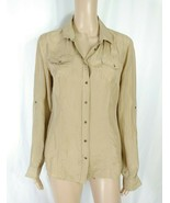 Massimo Dutti Italy Silk Button Down Shirt SZ 42/8 Beige Taupe Lightweig... - $7.70
