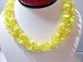 Vintage Yellow Clear Opaque Plastic Double Strand Necklace Mid Century Hong Kong - $29.00