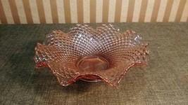 "11 3/4"" Westmoreland Pink Glass English Hobnail Centerpiece Bow w/ Ruffl... - $35.00"