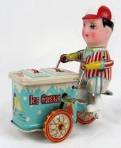 Vintage Clockwork Ice Cream Vendor Tin Wind-Up Toy MS 405 Original Box W... - $23.22