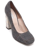 DRIES VAN NOTEN Pump Wool Plaid Check Leather Crystal Square Toe Sz 39.5... - $648.38