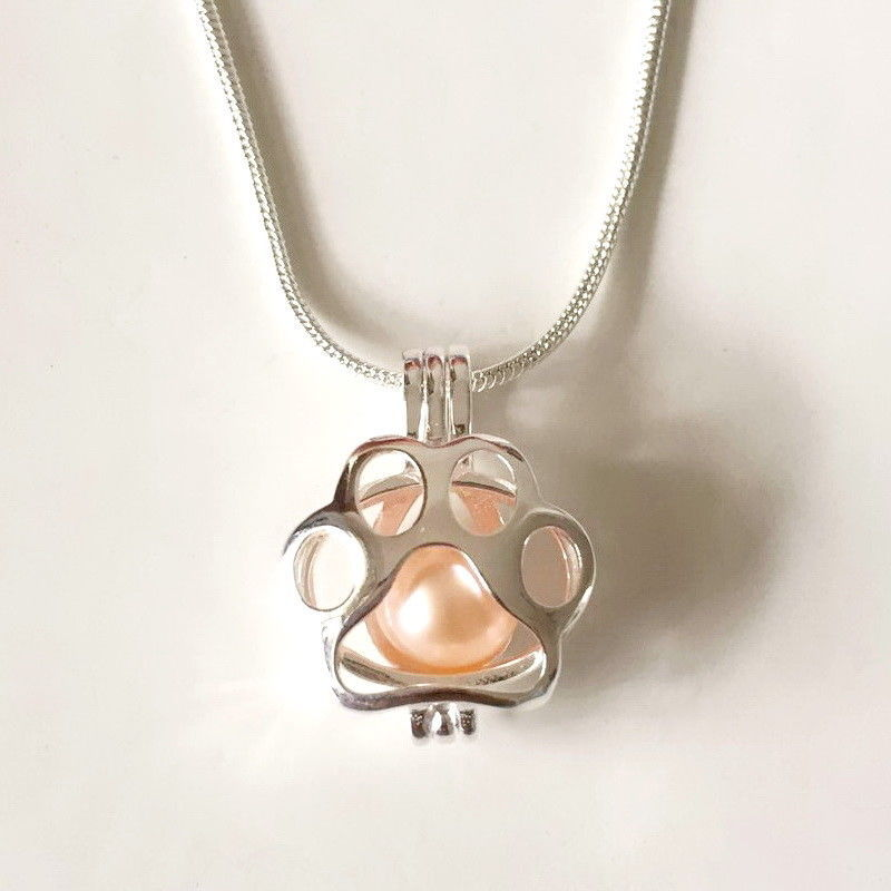 925 Sterling Silver Locket Cage Pendant -  Paw Print Pearl Pendant