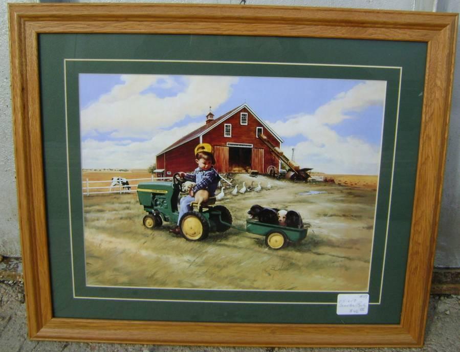 John Deere Tractor Cartoon Prints : John deere framed art quot tractor ride prints