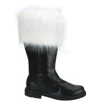 FUNTASMA Santa-100 Heel Boots - Black Pu-White Faux Fur - $65.95