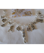 Halloween Theme 13 Charm Bracelet SP New Handcrafted  + Organza Roses Gi... - $19.99