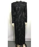 Judith Ann Creations Women S Black Sequins Formal Gown Dress Long Sleeve... - $343.00