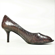 Donald J Pliner Womens Brown Leather Alligator Peep Toe Stiletto Pump Size 8.5M - $49.99