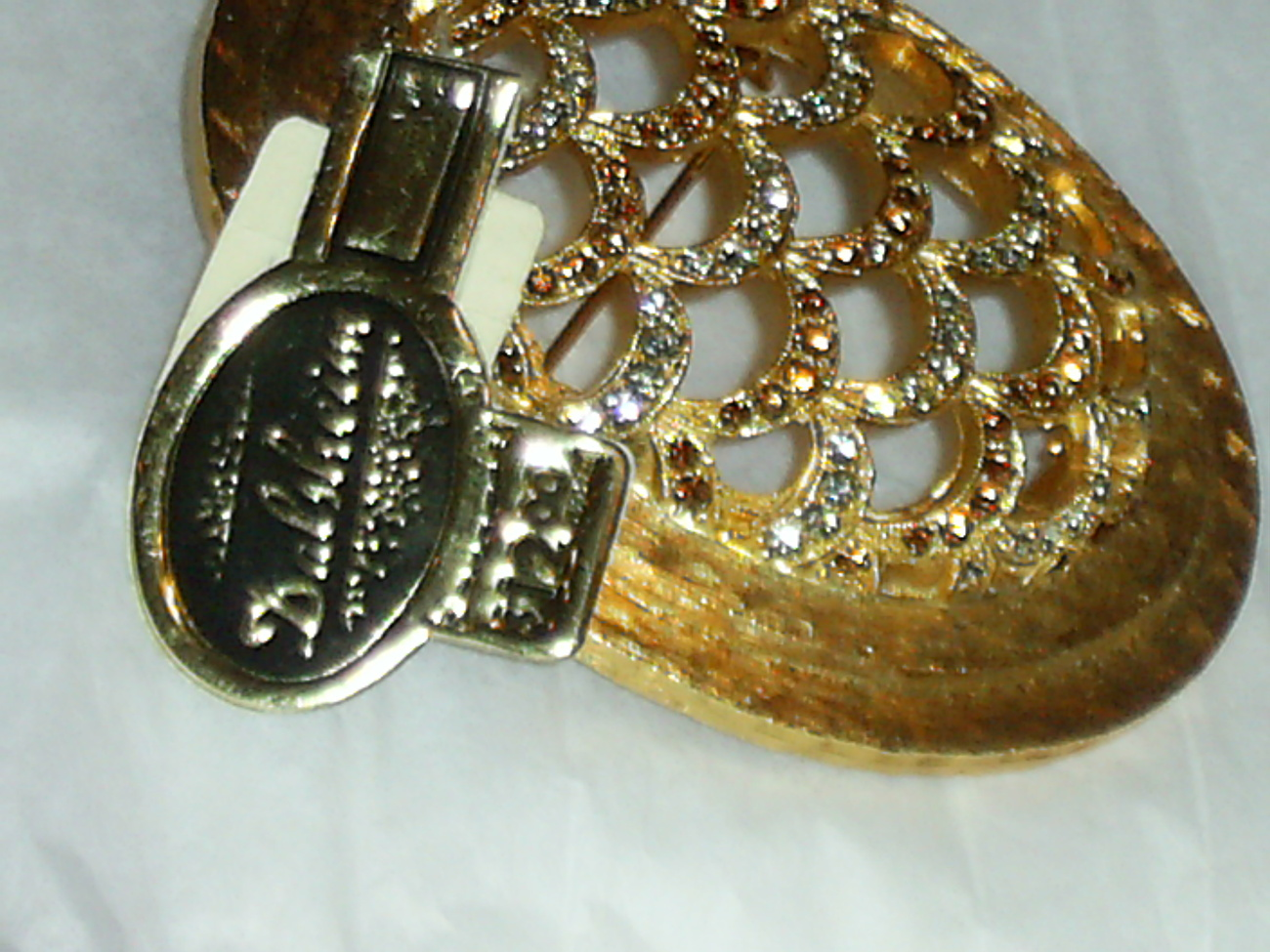 Rare Dalsheim Brooch with Stick and Hang Tag - Rhinestones Gold Tone Open Work