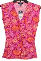 Chaps by Ralph Lauren Petite Floral Paisley Empire Surplice Blouse Top PXS PXL - $29.98