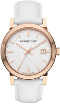 Burberry BU9012 The City Rose Gold Watch White Leather Strap - 38 mm - Warranty - $288.00