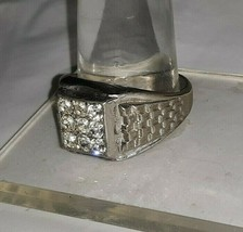 Vintage UNCAS 18kt HGE White Gold Plated Mens Ring w Clear Rhinestones S... - $18.95