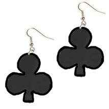 CLUB PLAYING CARDS EARRINGS-SUIT Blackjack Dealer Poker Game Funky Jewel... - $5.97