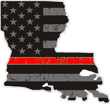 State Of Louisiana Tattered Flag Thin RED Line Support Car Window Bumper... - $2.00