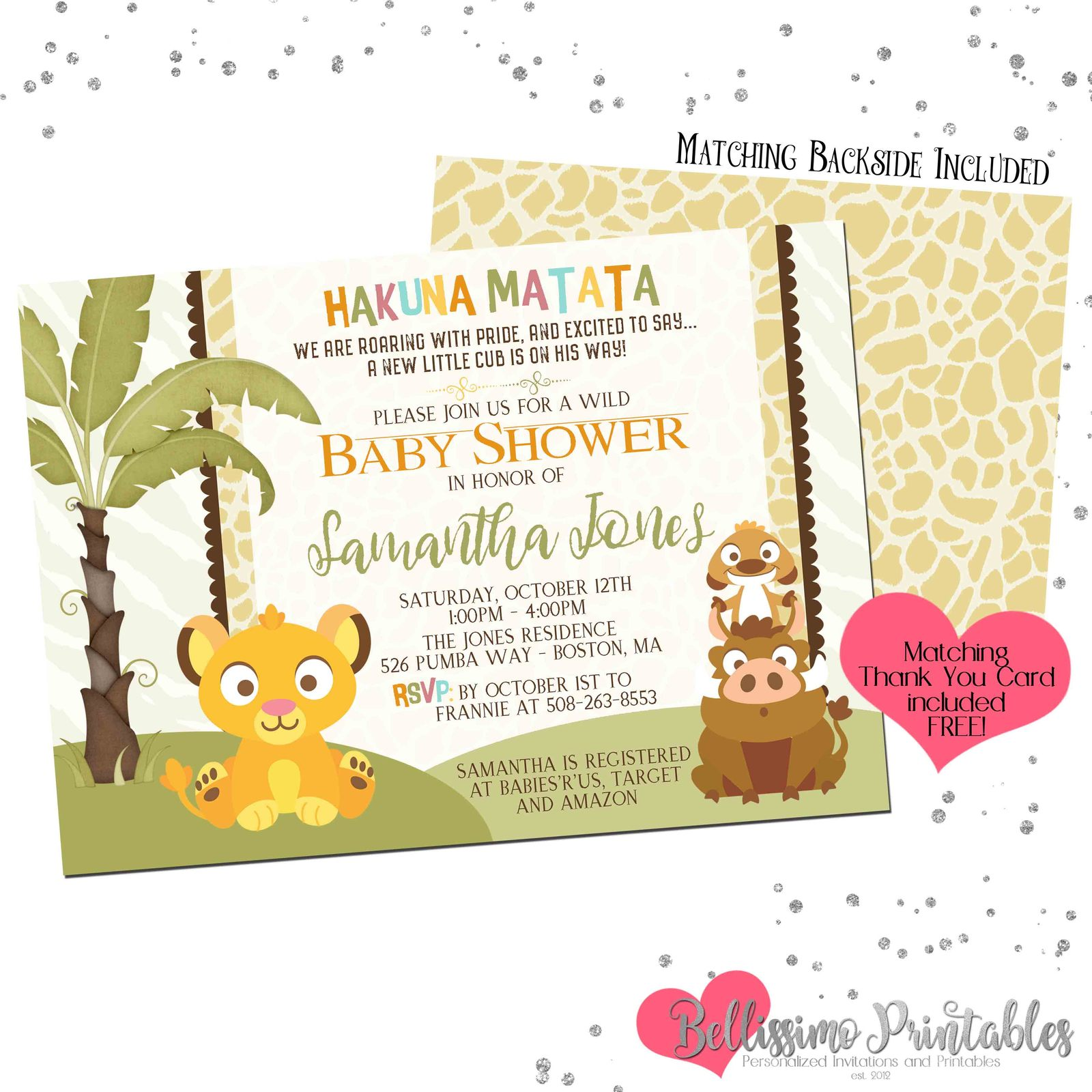 Lion king baby simba baby shower invitation and 50 similar items lion king invitation listing printbale filmwisefo