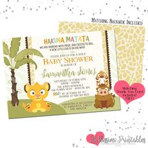 Lion King Baby Simba Baby Shower Invitation Custom PRINTABLE Personalized - $12.00