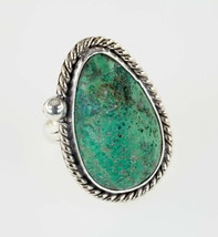 Sterling Green Silver Navajo Turquoise Ring with Bead Accent Size 7.50 - $88.32