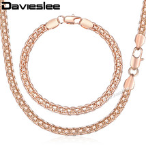Davieslee Jewelry Set For Women 585 Rose Gold Bracelet Neckalce Set Bismark Link - $25.92