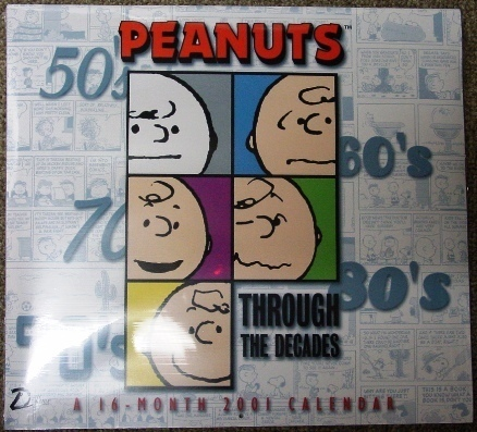 Peanuts Snoopy 2001 Throughout the Decades wall calendar - M