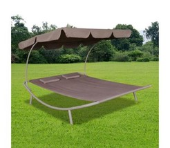 Outdoor Double Loungebed Sunlounger With Canopy 2 Pillows Hammock Lounge... - $148.75