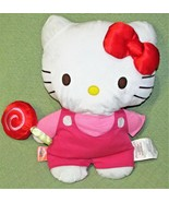 """17"""" HELLO KITTY Plush SANRIO Stuffed Cat with LOLLIPOP 2013 Red Bow Pink... - $22.77"""