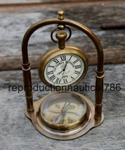Collectible Antique Brass Desktop Working Clock With Compass Beautiful Gift - £26.81 GBP