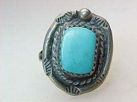 TURQUOISE Vintage RING in Sterling Silver - Size 6 - $60.00