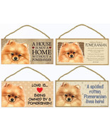"Pomeranian Red Dog Sign Plaque 10""x5"" House Home Spoiled Love Advice - $10.95"