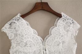 White Cap Sleeve V Neckline Lace Tanks Boho Wedding Bridesmaid Tops Covers-plus  image 3