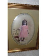 ANT VICTORIAN PHOTO OF GIRL WITH ICE CREAM CHAIR GOLD ORNATE WOOD FRAME ... - $84.10
