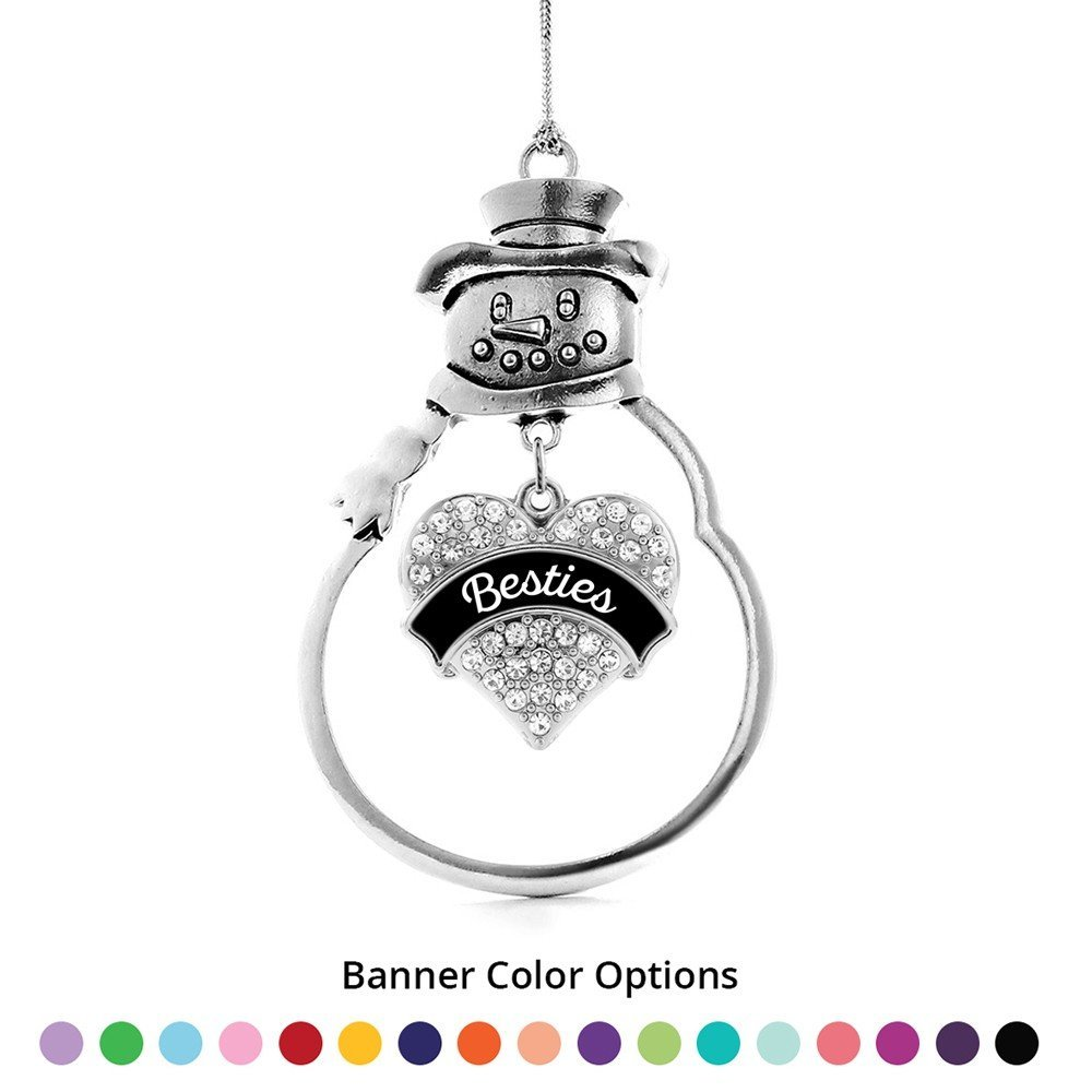 Primary image for Inspired Silver Besties Pave Heart Snowman Holiday Ornament- Select Your Banner