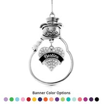 Inspired Silver Besties Pave Heart Snowman Holiday Ornament- Select Your... - $14.69