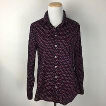 Gap Women's Arrow Themed Fitted Boyfriend Navy Blue Button Up Shirt Size Medium - $13.85