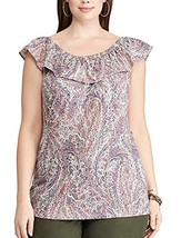 Chaps Womens Medium Multi Color Paisley On Or Off The Shoulder Sleeveless Shirt - $10.88