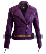 Women purple brando padded leather jacket front thumbtall