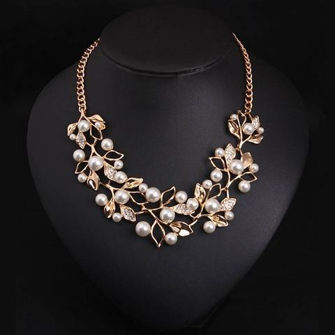Match-Right Vintage Simulated Pearl Leaves Theme Necklace for Women