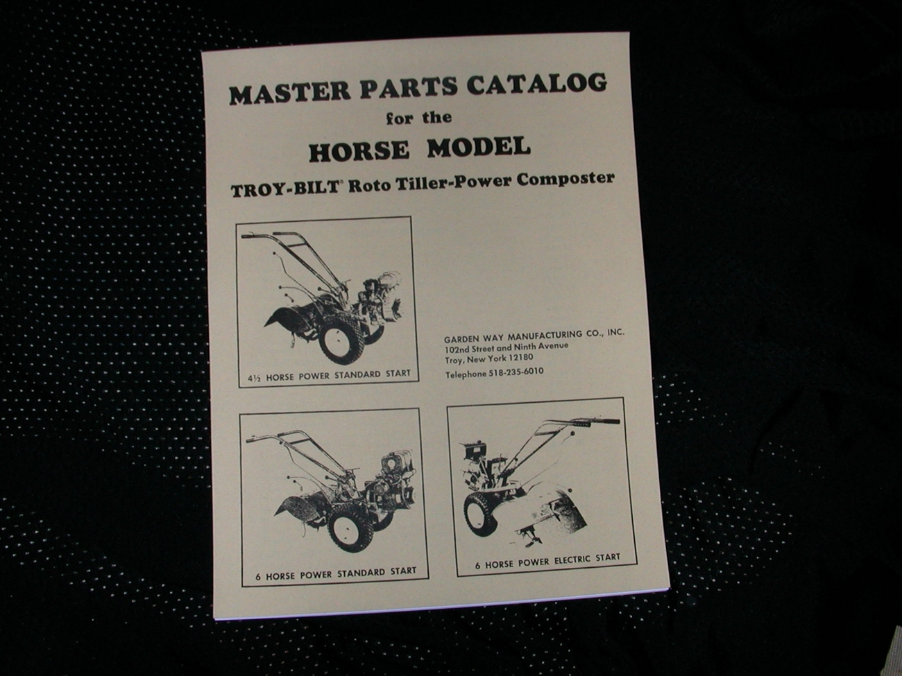 TROY-BILT HORSE ROTO TILLER PARTS MANUAL / BREAKDOWN
