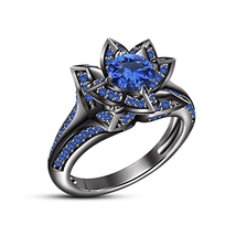 Womens Lotus Engagement Ring Blue Sapphire 14k Black Gold Finish 925 Rea... - £65.67 GBP