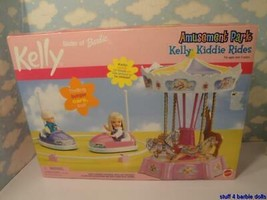 Barbie Kelly Doll Diorama Birthday Party- Amusement Park-Bumper Cars & Carousel! - $64.35