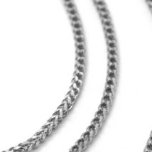 18K WHITE GOLD CHAIN 1.2 MM SQUARE FRANCO LINK, 16 INCHES, 40 CM MADE IN ITALY image 2