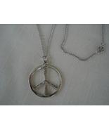 Silvertone Peace Sign Circle Pendant Necklace,  Chain - $9.99