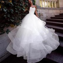 Sweetheart Back Lace up Tulle Ruffle Princess A-line Bridal Wedding Dress image 2
