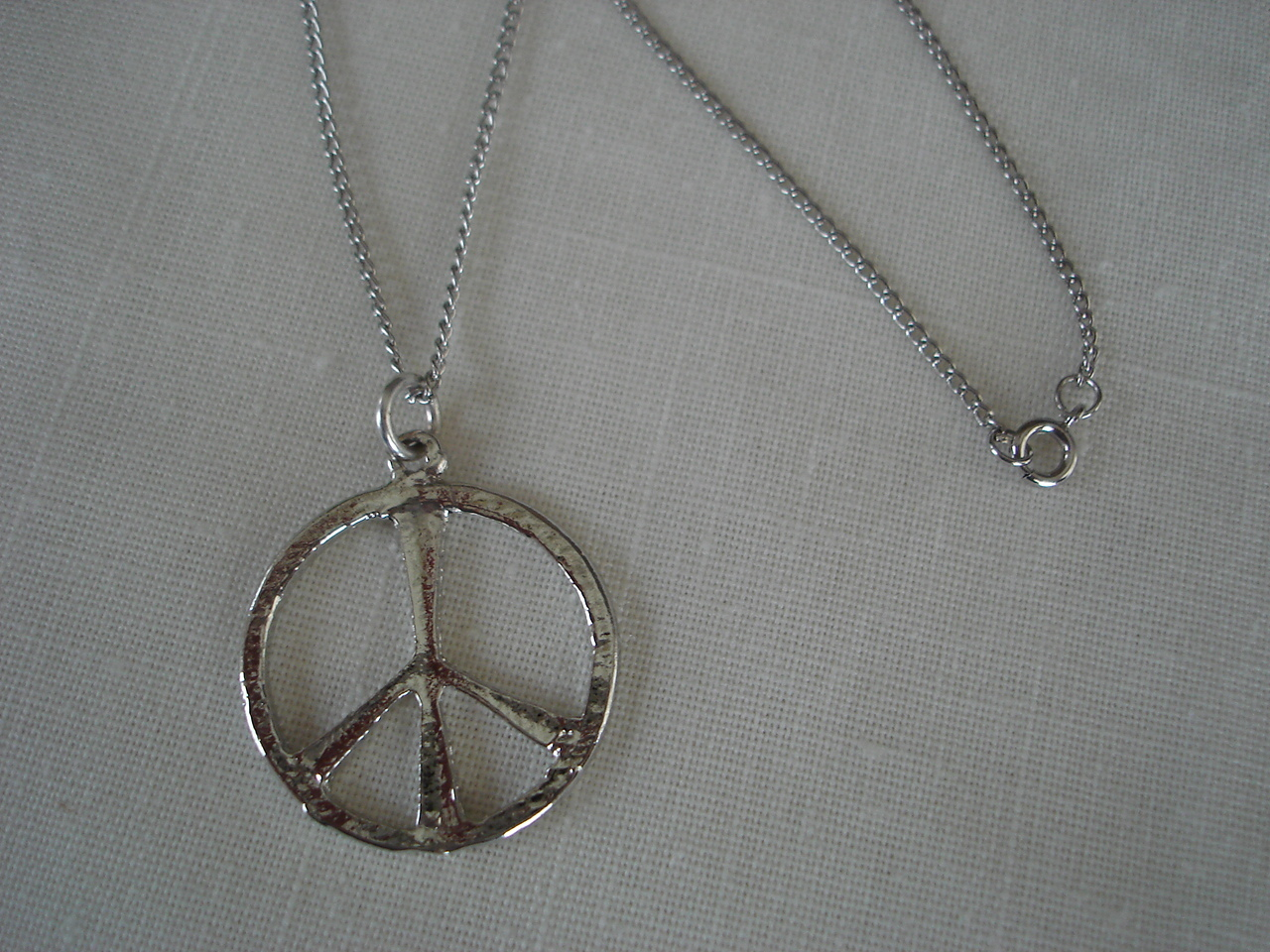 Silvertone Peace Sign Circle Pendant Necklace,  Chain