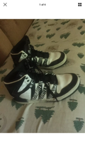 black and white zebra print pattern sneakers adidas 7.5 hightops high tops - $18.00